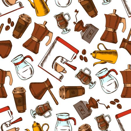 turkish: Coffee makers seamless pattern background. Vector sketch elements of retro coffee mill, turkish cezve, espresso machine, coffee grinder, moka pot, macchinetta, milk pitcher