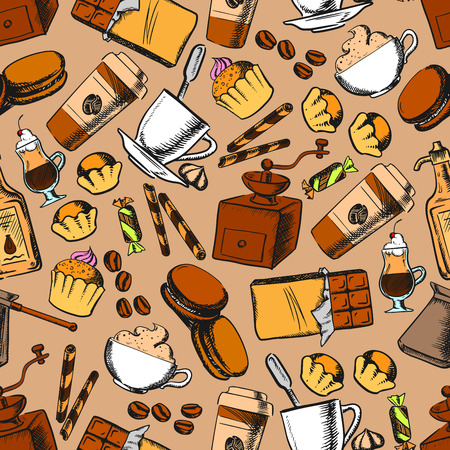 chocolate cookie: Coffee, tea, desserts and sweets seamless background. Wallpaper with sketch pattern of coffee mill, beans, tea cup, chocolate, muffin, cupcake, biscuit candy cookie