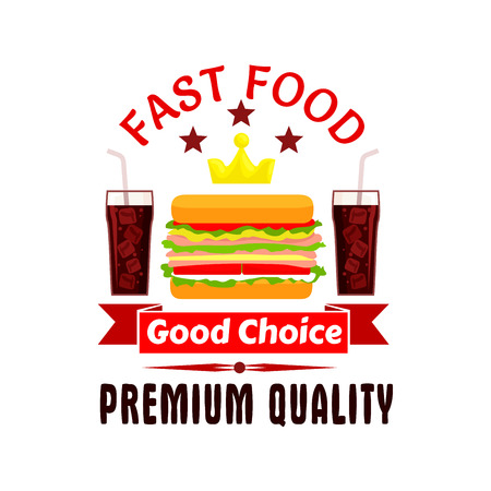 Fast food label icon. Cheeseburger, soda coke, golden crown, stars. Vector emblem for restaurant, eatery, menu signboard poster Illustration