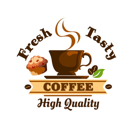Hot Coffee Cup icon with coffee beans and muffin. Cafe emblem with espresso, cappuccino for cafeteria, signboard, fast food menu, bar Illustration