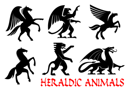 mythical: Heraldic animals icons. Pegasus, Griffin, Dragon, Lion, Horse, Tiger, Unicorn silhouettes. Gothic mythical creatures for tattoo, heraldry or tribal shield emblem