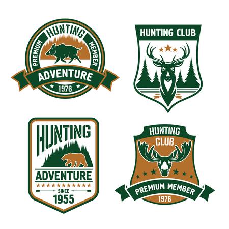 premium member: Hunting club shields set. Vector hunt sports emblems with animals, boar, deer, elk, bear, antlers, arrows, forest. Hunter premium member shield for badge, t-shirt outfit Illustration