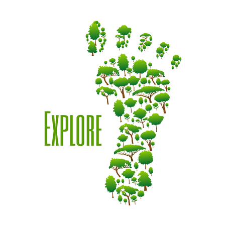 environment protection: Nature safe exploring poster. Green environment protection icon with foot symbol made of trees Illustration