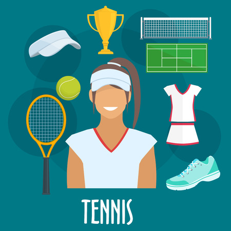 sport equipment: Tennis sport equipment and outfit icons. Tennis woman player with vector isolated cap visor, racket, ball, sneaker, victory cup, playing field, dress