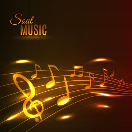 soul music: Soul Music poster. Shining golden music notes on stave. Background for banner, flyer, card, radio, festival, concert, opera, advertising web design