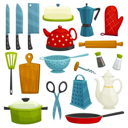 Keukengerei geïsoleerd pictogrammen. Keukengerei en bestek bijl, mes, koffiezetapparaat, waterkoker, pitcher, spatel, snijplank, rasp, schaar, koekenpan siuce pan zout peper kurkentrekker vergiet