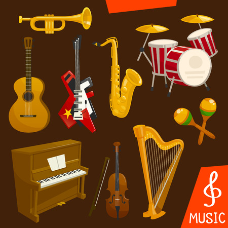 Wind and string musical instruments. Vector isolated music icons of saxophone, piano, harp, drums, maracas, guitar, violin trumpet