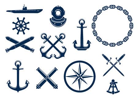 Marine en nautische vlakke pictogrammen en symbolen te stellen. Vector embleem blauwe elementen van anker, ketting, stuurwiel, onderzeeër, sextant, bommen, kanonnen, zwaarden.