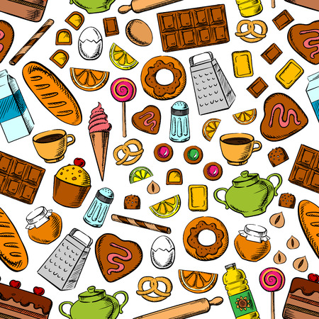 milk and cookies: Desserts and kitchenware seamless background. Wallpaper with vector icons of sweets, cookies chocolate, biscuits, cupcakes, bread bagels, tea, coffee, milk, eggs nuts honey jam