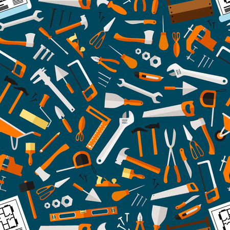 Construction and repair tools seamless pattern wallpaper. Carpentry flat icons background. Carpenter and builder working elements. Vector hammer, axe, ruler, hatchet, saw, screw driver, ruler, knife