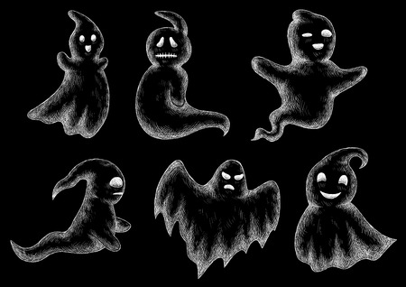 bogey: Halloween chalk drawing. Funny ghosts and spooks hand drawn on chalkboard. Cute scary artistic bogey chalked vector icons set. Blackboard background