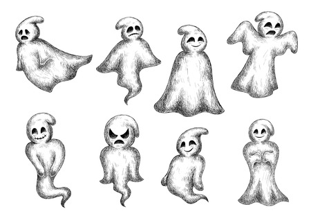 horrific: Halloween funny cartoon ghosts and spooks. Cute scary artistic bogey with face expressions. Vector icons set