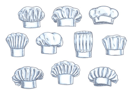 toque: Chef toques, caps and hats. Different shapes and forms. Pencil sketch icons for restaurant, bakery, kitchen design Illustration