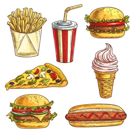 iconos conjunto de croquis de comida rápida. elementos aislados de hamburguesa, hamburguesa con queso, bebidas gaseosas en la copa, cono de helado, rebanada de la pizza, hot dog, papas fritas en caja