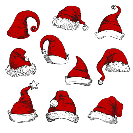 new year decoration: Santa red hats set. New Year and Christmas decoration elements. Vector sketch icons Illustration