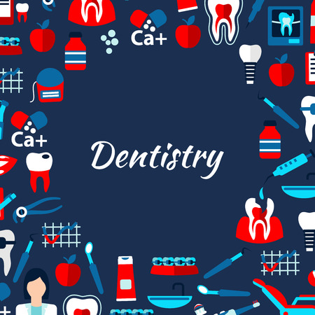 decayed teeth: Modelo del dise�o de la bandera con la odontolog�a dentista, dientes sanos y cariados, aparatos ortop�dicos e implantes, sillas de dentista y herramientas, medicamentos y vitaminas, cepillos de dientes, pasta de dientes y usa hilo dental iconos planos dispuestos en c�rculo con el texto de la odontolog�a en el centro