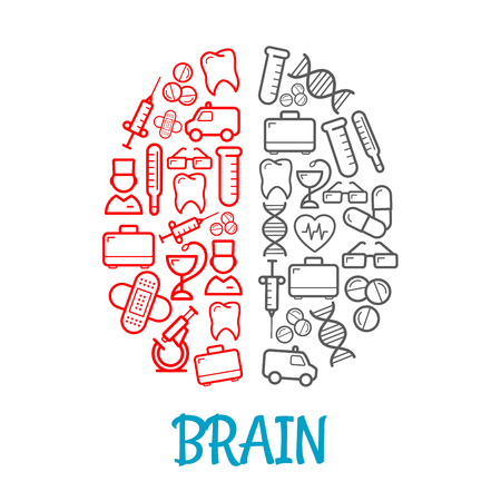 kits: Medical icons shaped as human brain for healthcare symbol design with red and gray sketches of pills, syringes, first aid kits and thermometers, doctors, ambulances, hearts and teeth, test tubes, DNA, glasses and plasters