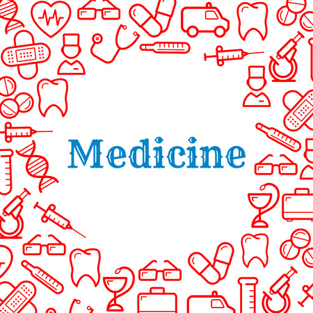 equipment: Medical and healthcare equipment icons in form of heart. Nurse or medic, sticking plaster or adhesive bandage, tooth and thermometer, pill or tablet as capsule, stethoscope and first aid kit, snake twined around cup and DNA, ambulance and glasses