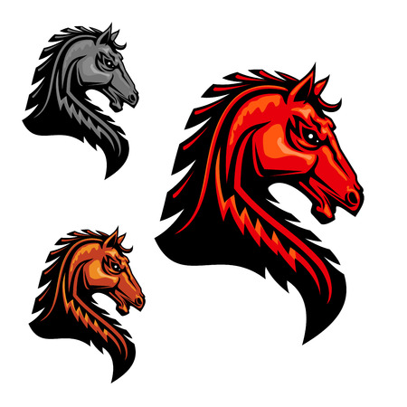 Fiery orange horse head icon with tribal stylized spiky mane hairs. For equestrian sport, t-shirt print, tattoo or team mascot design