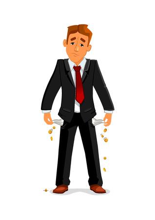 イライラした実業家は彼の空のポケットに判明します。悲しい倒産ビジネスマンには、財政破綻後にお金がないです。金融危機と破産のビジネス ・