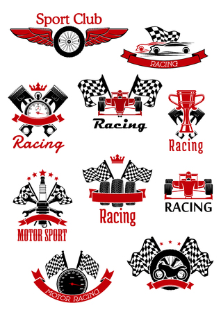 motors: Motorsport symbols framed by ribbon banners and stars for sports theme design Illustration