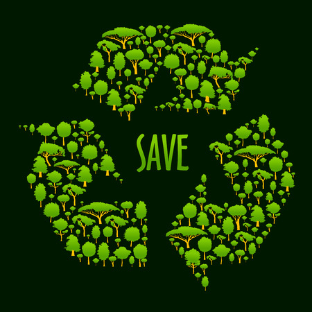Recycling-Symbol Silhouette der grünen Bäume und Pflanzen mit Beschriftung Speichern in der Mitte aus. Ökologisches Konzept, Recycling-Zeichen für Behälter oder umweltfreundliche Verpackungsdesign