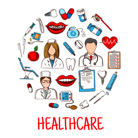 Healthcare colored sketch symbols shaped as circle with doctors and nurse, thermometer and stethoscope, dentist chair, tools, teeth, heart, medicines, syringe, toothbrush and toothpaste, implants and floss, blood pressure monitor and medical checkup form