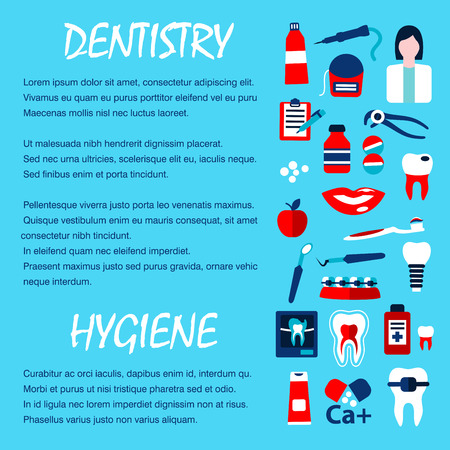 dientes con caries: Dentistry template for dentist office design with flat symbols of healthy and decayed teeth, dentist, tool, pill, toothbrush, toothpaste, implant, braces, x-ray scan, floss and mouthwash