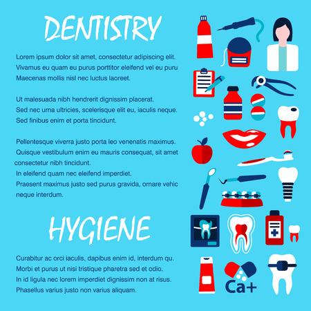 dientes con caries: Radiografía de la plantilla para el diseño de la odontología oficina del dentista con símbolos planas de sana y dientes cariados, dentista, herramienta, píldora, cepillo de dientes, pasta de dientes, implantes, aparatos ortopédicos, exploración, hilo dental y enjuague bucal