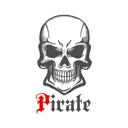piracy: Aggressive smiling jolly roger character of sketched human skull with crazy cheesy grin. Use as piracy theme, t-shirt print or tattoo design