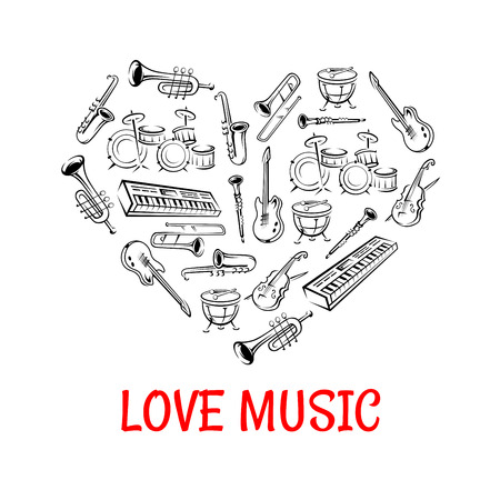trombone: Drum, guitar, saxophone, trumpet, trombone, clarinet, violin and synthesizer sketch icons creating a silhouette of a heart. Love Music concept or classic orchestra concert design