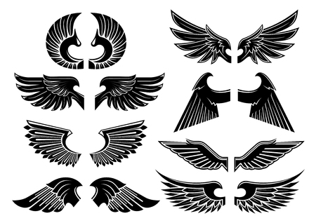 Heraldic angel wings icons with isolated black wings of fallen angels with spiky and curved feathers. Heraldry, tattoo or jewelery design