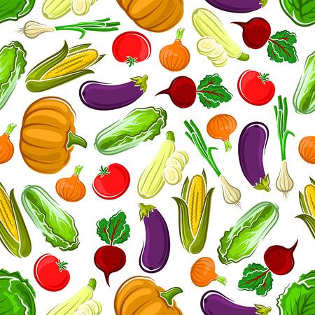 Naadloze patroon achtergrond van rijpe pompoenen, tomaten en aubergines, zoete maïskolven, bieten en kool, uien en courgette groenten. Gebruik als keuken interieur of de landbouw thema ontwerp