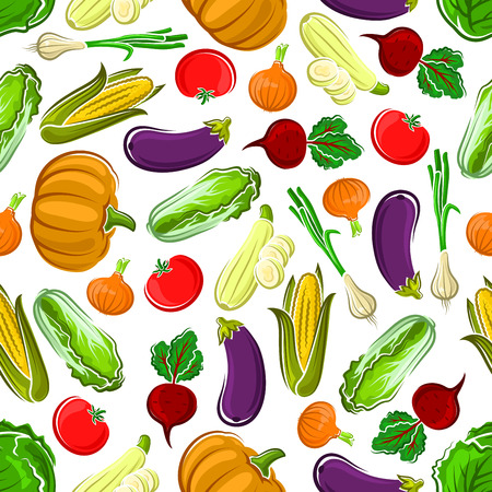 Seamless pattern background of ripe pumpkins, tomatoes and eggplants, sweet corn cobs, beetroots and cabbages, onions and zucchini vegetables. Use as kitchen interior or agriculture theme design
