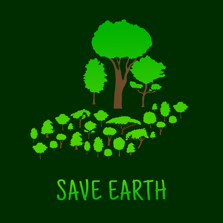 eco symbol of human hand carrying green forest trees earth day