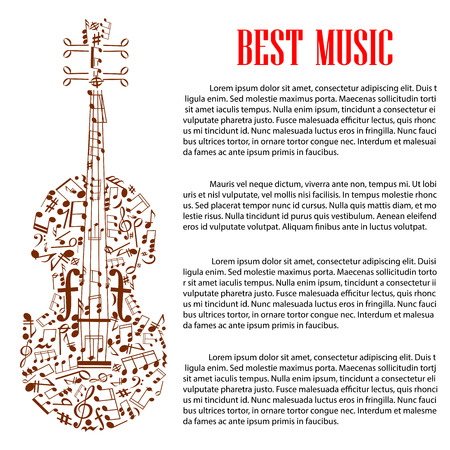 arts symbols: Musical design template with silhouette of violin made up of brown musical note, treble and bass clef and various symbols of musical notation with text layout and header Best Music. Arts design Illustration