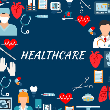 physician: Medical services and hospital background with text Healthcare surrounded by flat icons of physician, surgeon and nurse, stethoscopes, thermometers, operation table and tools, hearts, lungs and medicines, blood pressure and ecg monitors