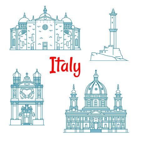 sanremo: Italian architectural travel landmarks thin line icon with Lighthouse of Genoa, Basilica of Santa Giustina in Padua, Basilica di Superga in Torino and Church of the Madonna della Costa in Sanremo