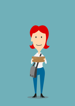 redhead woman: Redhead woman with crossbody bag is reading book. Education, I love reading concept design. Cartoon style