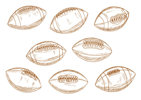lacing: Retro balls of american football game brown sketch symbols with classic elongated leather sporting balls with stitching and lacing. Sporting competition or sports items design Illustration