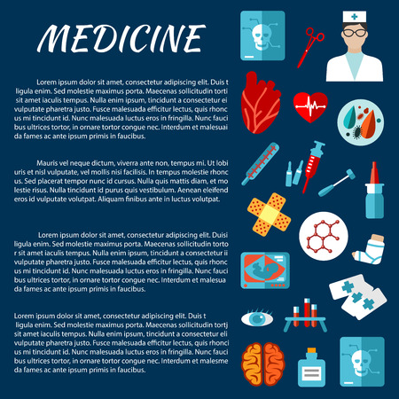 medical examination: General medicine template for medical examination concept design with flat icons of thermometer, syringe, doctor, heart, medicine bottle, test tube, tool, brain, eye, x-ray, ultrasound, plaster