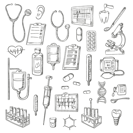dna test: Sketched stethoscopes, thermometers and syringes, medicines, test tubes and drip chambers, microscope, heart and ear, dentist tools, tooth implant, checkup form, ecg and blood pressure monitors, DNA helix and chemical formula symbols