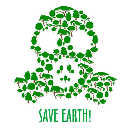 Ecology concept with gas mask silhouette composed of green trees and plants icons. Save earth and air pollution themes design