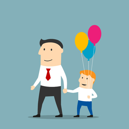 father and son holding hands: Cheerful father and son with bundle of balloons walking holding hands. Father day concept or weekend leisure activity theme design. Cartoon style Illustration