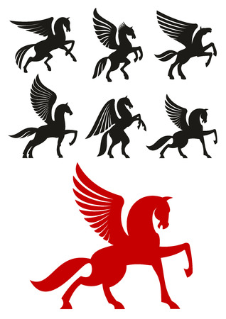 Pegasus horses silhouettes of prancing and rearing up winged horses with raised and folded wings. Heraldic theme or t-shirt print design Иллюстрация