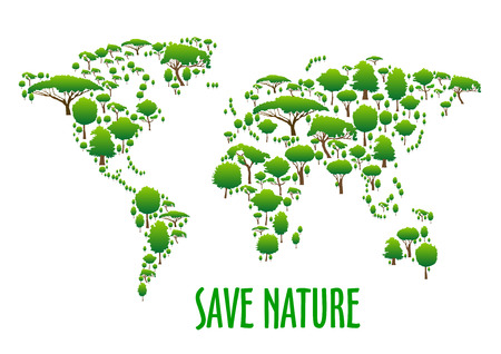 save as: Abstract world map symbol made up of green trees and bushes icons with caption Save Nature below. Use as ecological infographics and earth day theme design