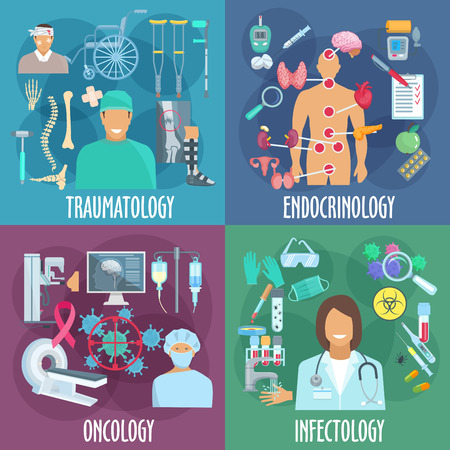 traumatology: Traumatology, endocrinology, oncology and infectiology icons with doctor, diagnostic equipment, laboratory research, medicines and treatment, rehabilitation therapy and preventive action symbols