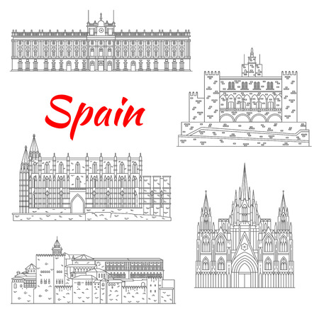 alhambra: Spanish tourist sights icon of fortress Alhambra in Granada, Royal Palace of Madrid, Cathedral of Santa Maria in Palma, Barcelona Cathedral and Royal Palace of La Almudaina in Palma. Thin line style Illustration