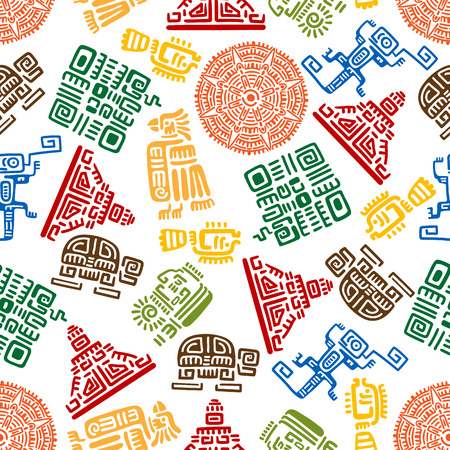 Seamless background with mayan and aztec ornaments for ethnic decoration design with colorful pattern of eagles, snakes and suns, warriors and pyramids, turtles, lizards and fishes