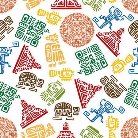 fondo transparente con adornos mayas y aztecas para el diseño de la decoración étnica con el patrón de colores de águilas, serpientes y soles, guerreros y pirámides, tortugas, lagartos y peces